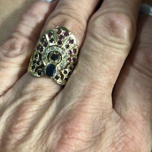 Jewelry - Ruby sapphire and diamond 18 k gold ring